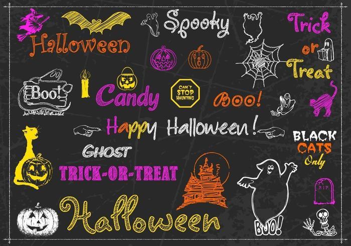 Het krijt Getrokken Vectoriepak van Halloween vector