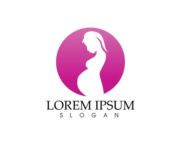 Gelukkige zwangere vrouw wat betreft haar buik. Zwangerschap pictogrammen vector