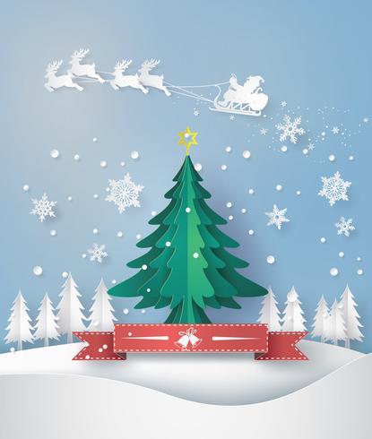 vrolijk kerstfeest wenskaart met origami kerstboom gemaakt vector