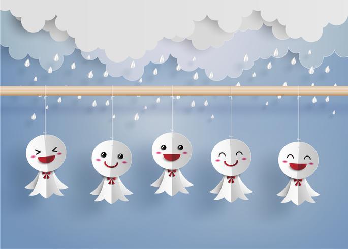 Japanse papieren pop tegen regen vector