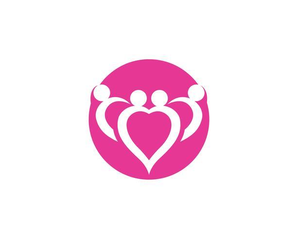 hou van familie zorg logo en symbolen sjabloon vector