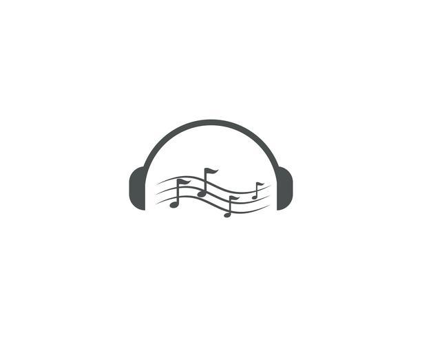 Hoofdtelefoon muziek opmerking logo vectorillustratie vector