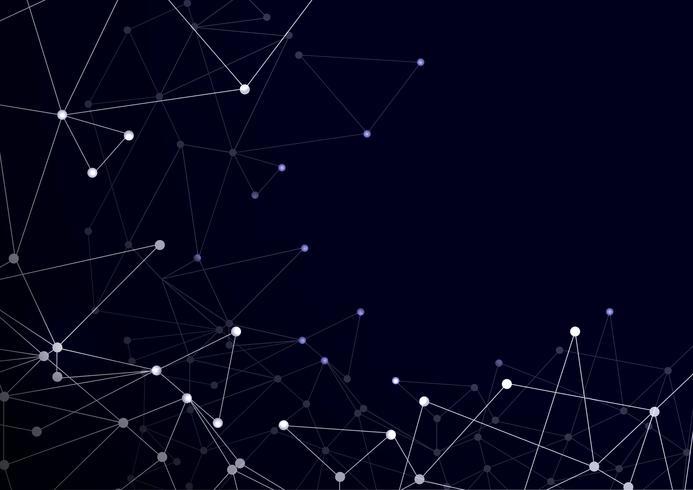 Virtuele abstracte achtergrond met deeltjes, moleculestructuur. vector