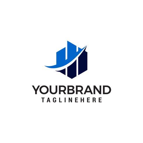 Stijging van het bouwen van onroerend goed chart-logo vector