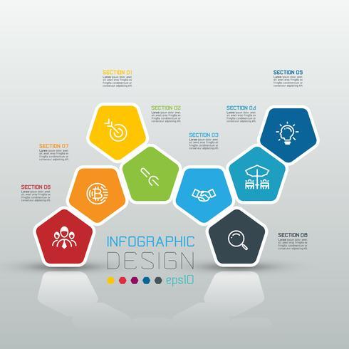 Pentagons label infographic op vector kunst.