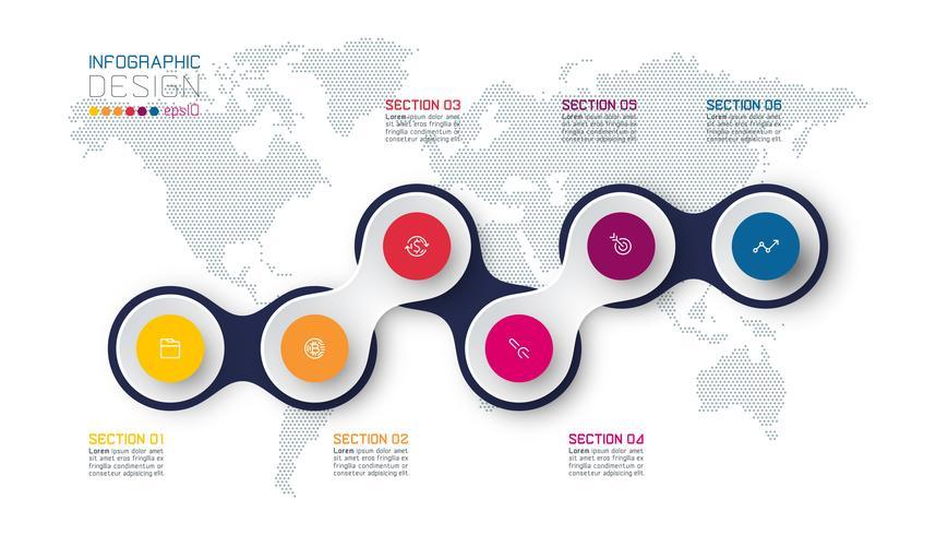 Cirkel gekoppeld aan zakelijke pictogram infographics op de achtergrond van de wereldkaart. vector