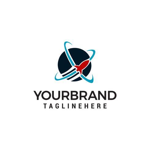 Snellere Fly raket logo ontwerp concept sjabloon vector