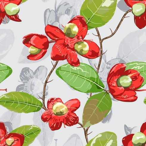 Bloemenelement op grijze naadloze achtergrond. vector