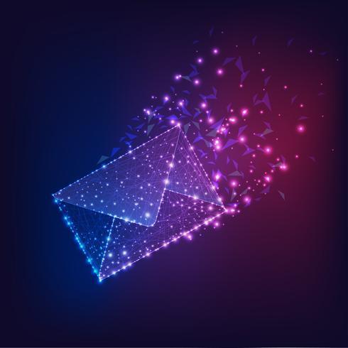 Futuristische vliegende elektronische envelop, e-mail op donkere gradiënt blauwe tot paarse achtergrond. vector