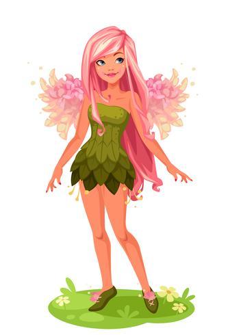 Roze vleugels Fairy standing vector