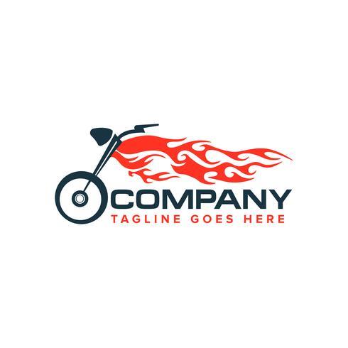motorfiets met vlamlogo. Auto race motorfiets logo vector