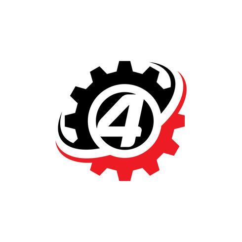 Nummer 4 versnelling Logo ontwerpsjabloon vector