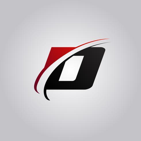 oorspronkelijke letter D-logo met swoosh rood en zwart gekleurd vector