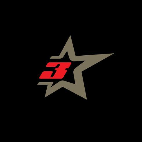 Sjabloon voor nummer 3-logo met Star-designelement. vector