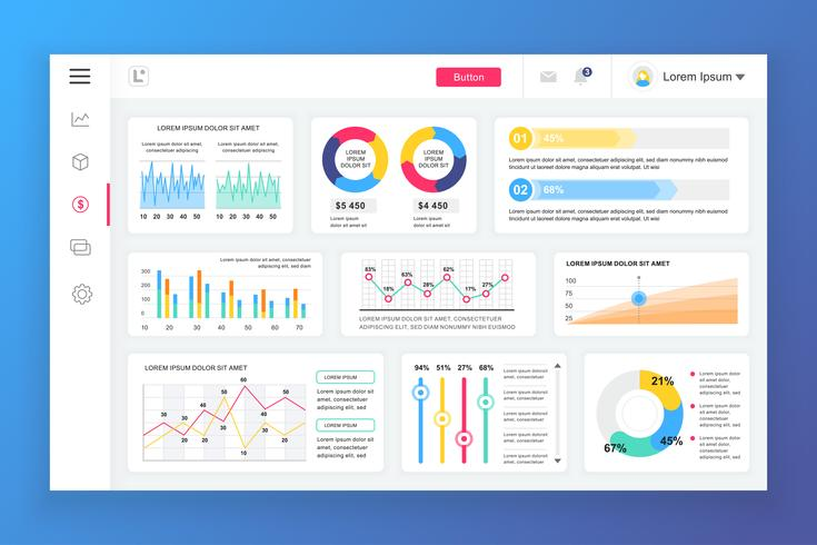 Dashboard admin panel vector ontwerpsjabloon met infographic elementen, grafiek, diagram, info graphics. Website dashboard voor ui en ux ontwerp webpagina. Vector illustratie.
