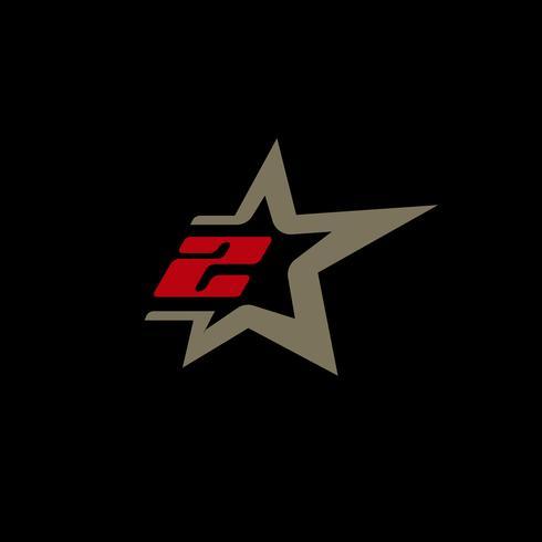 Sjabloon voor nummer 2-logo met Star-designelement. vector