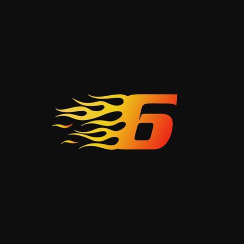 Nummer 6 Brandende vlam logo ontwerpsjabloon vector