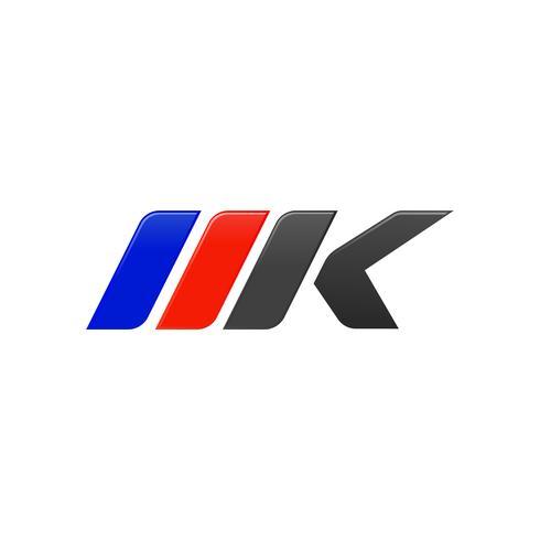 letter MK racing logo ontwerpsjabloon vector