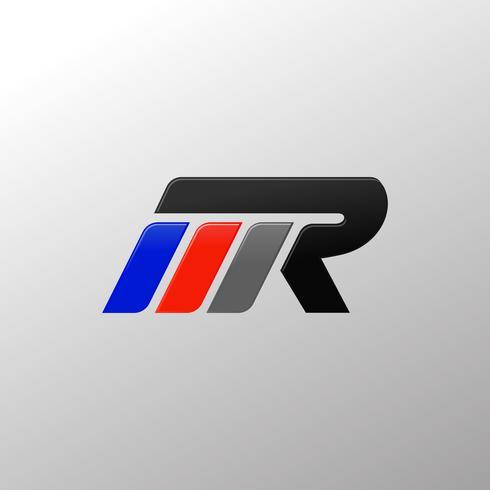 letter MR racing logo ontwerpsjabloon vector
