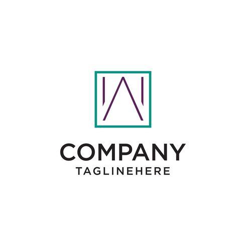 Minimalistische W Logo Inside Square Shape Vector