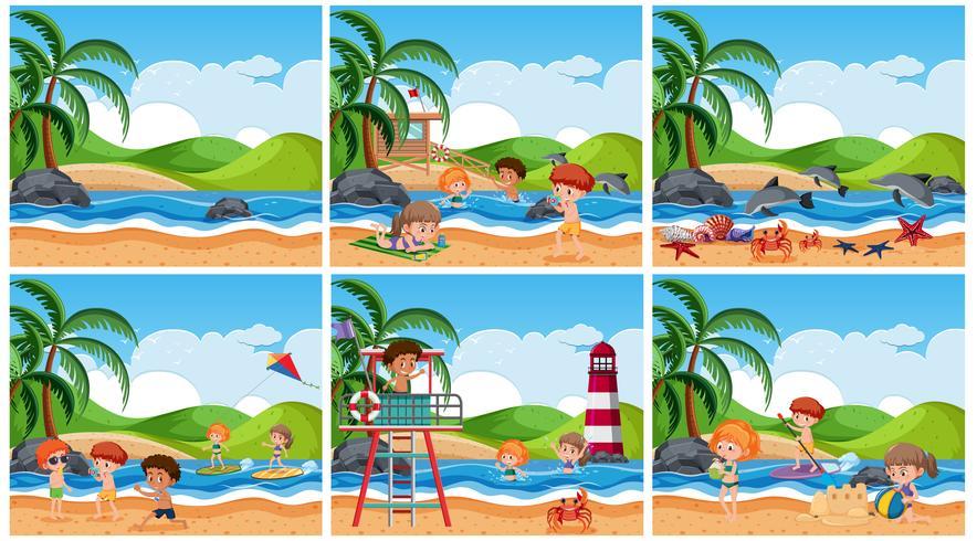 Reeks kinderen bij strandscène vector