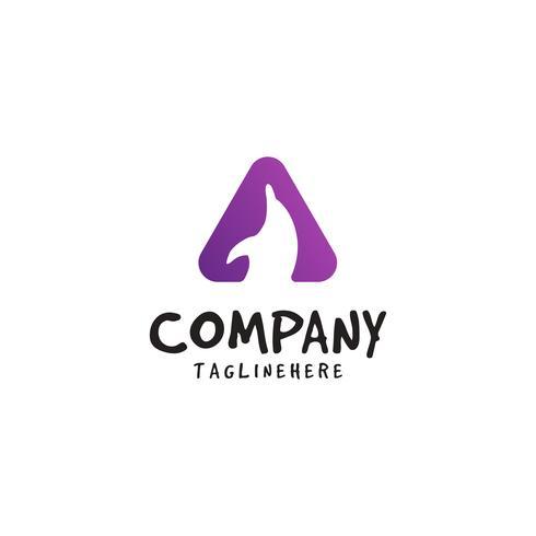 dolfijn-logo met driehoekige vormen vector