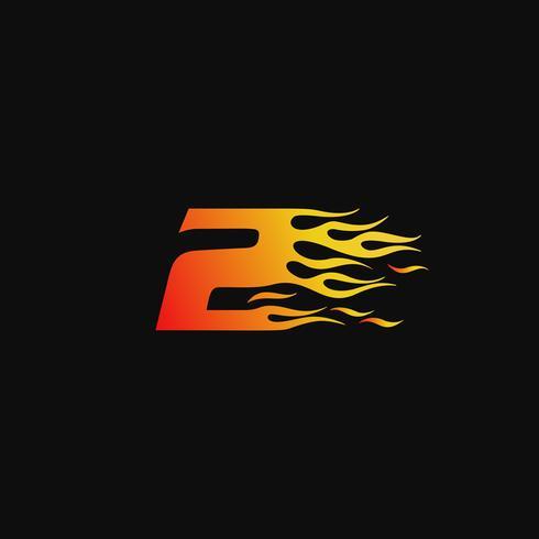 Nummer 2 Brandende vlam logo ontwerpsjabloon vector