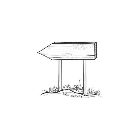 Pijl wegwijzer. Openluchtkrabbel houten verkeersteken. Plank schets. vector