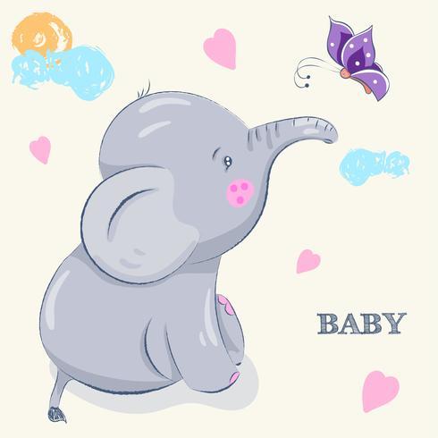 schattige kleine olifant vector
