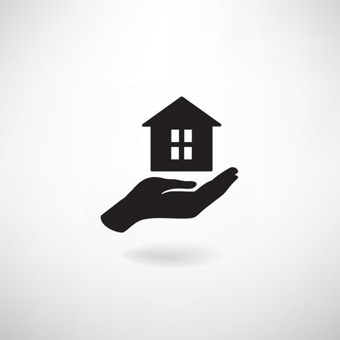 Thuis in de hand. Huishoudelijke teken. Onroerend goed, verzekering pictogram vector