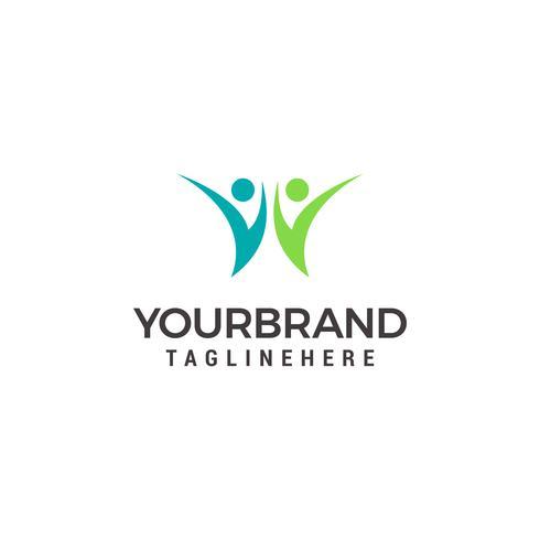 Twee stijgende menselijke mensen-logo. vector