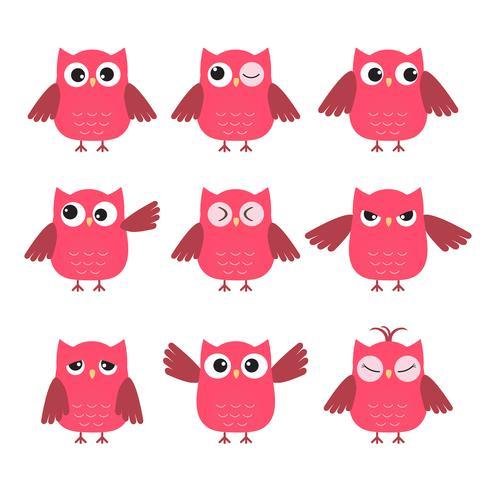 Set van schattige roze uilen met verschillende emoties vector