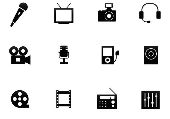 multimedia-pictogram vector pack