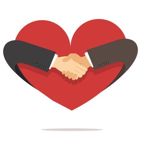 zakenman hand hand met hart schudden vector