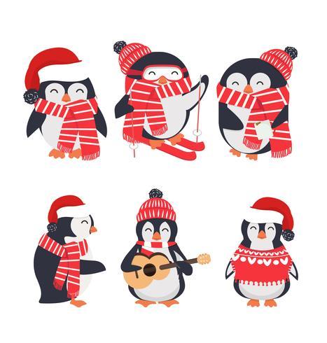 winterpinguïn dragen rode hoed en sjaal set vector