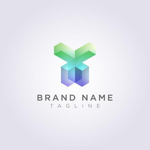 Rectangular Geometric Logo Icon Design in de vorm van een mens vector