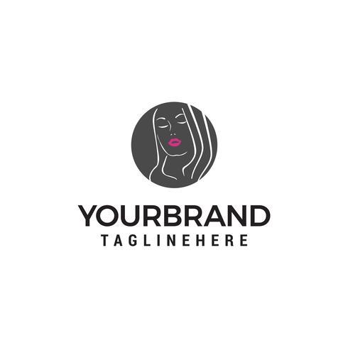 vrouwen gezicht schoonheidssalon, kapsalon, cosmetische logo ontwerpsjabloon concept vector