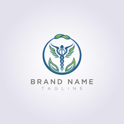 Ontwerp een logo met een combinatie van cirkels, bladeren en gezondheidssymbolen voor uw bedrijf of merk vector