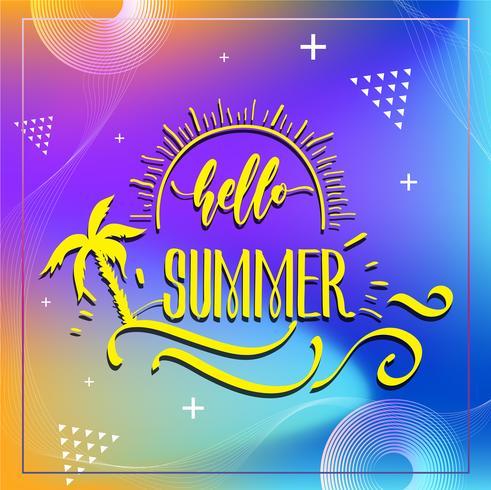 Happy Summer Party 2019. Vector veelkleurige logo op donkerblauwe achtergrond. Zon en handgeschreven inscriptie. Heldere seizoensgebonden labelsjabloon. Hete zomertijd.