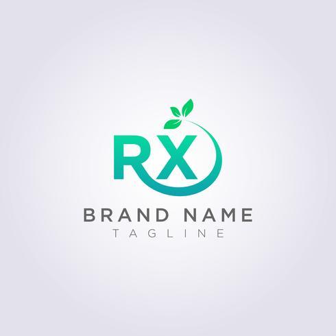 Logo Design Icon De letter RX met R heeft aan het einde bladeren vector