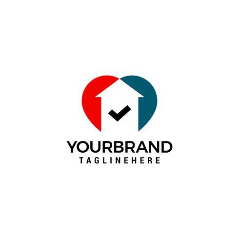 Hou huis vinkje logo ontwerp concept sjabloon vector