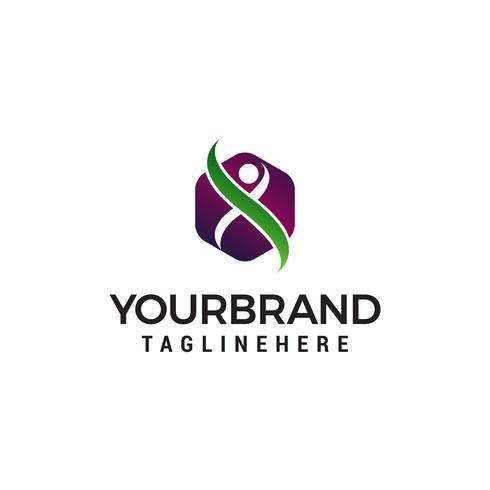 mensen zeshoek logo ontwerp concept sjabloon vector
