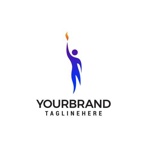 menselijke persoon in vlam Logo sjabloon vector