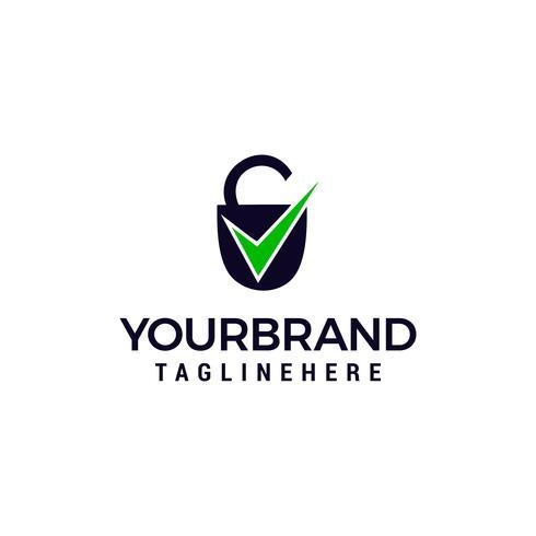 Beveiligingspictogram met selectievakje teken logo ontwerpsjabloon concept vector