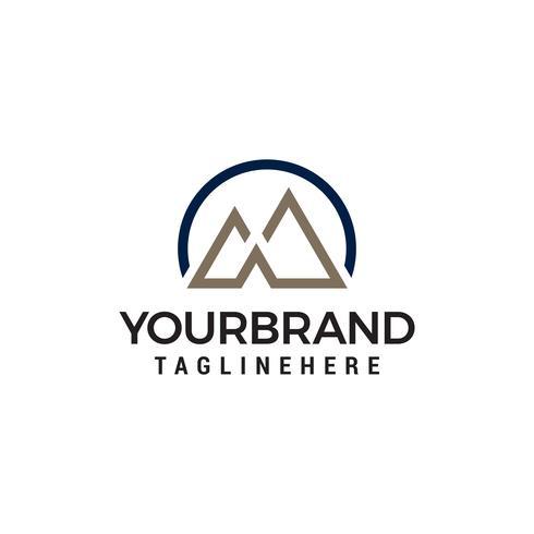 Letter M berg minimalistische logo ontwerpsjabloon concept vector