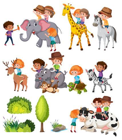 Set van kinderen met dier vector