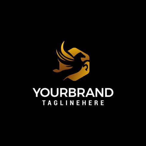 pegasus luxe logo ontwerp concept sjabloon vector
