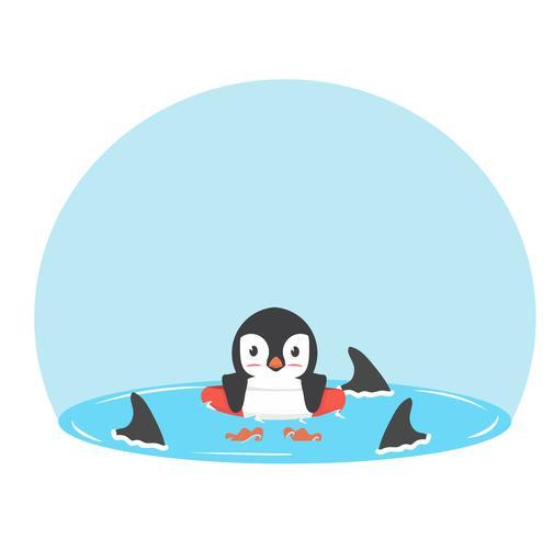 Pinguïnzwemmen opblaasbare ring met vinhaaien vector