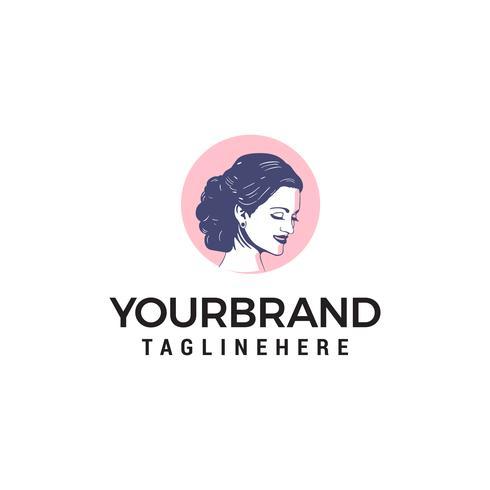 Schoonheid en salon vrouw logo ontwerp concept sjabloon vector