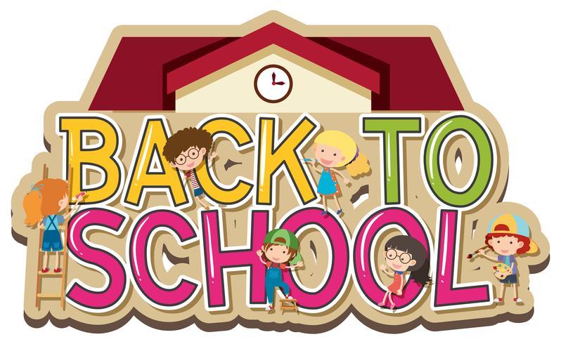 Woordenontwerp voor terug naar school met gelukkige kinderen vector